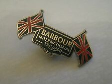 Enamel Waxed Motorcycle Jacket Pin Badge - Barbour International - Triumph