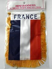 FRANCE FRENCH MINI POLYESTER INTERNATIONAL FLAG BANNER 3 X 5 INCHES