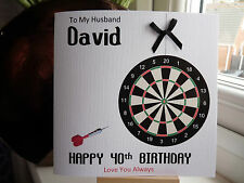 Handmade Personalised Male Darts Dart Birthday Card Dad Husband Son Grandad