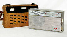 SOKOL Russian Pocket Radio Transistor Receiver USSR 1960s Works MW AM LW case