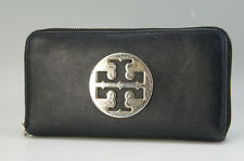 Authentic TORY BURCH Logo Long Wallet Leather Round Zipper Black _CN 661f24