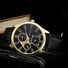 New Mens Casual Watch Retro Faux Leather Band Analog Alloy Quartz Wrist Watch
