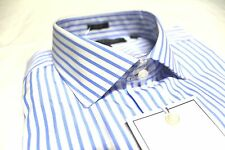 Mens Tommy Hilfiger Designer Dress Shirt 17 34/35 White Blue Stripe Slim Fit