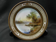 VINTAGE NORITAKE HAND PAINTED GILDED PLATE SWANS & COUNTRYSIDE - 16cms diameter