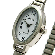 Ladies Slim Oval Watch by Ravel with Expanding Bracelet Silvertone 02