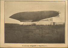 LE DIRIGEABLE REPUBLIQUE BALLONS ZEPPELIN IMAGE PRINT 1908