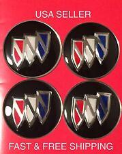 BUICK 4Pcs Black 65mm Domed Emblem Badge Wheel Center Hub Cap Decals Stickers