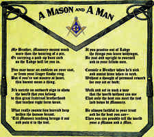 Rare Masonic Freemson Apron Poem Art Print Poster ring Freemasonry