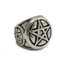 Steel Ring Triple Pentacle Pentagram Ring Wiccan Pagan Witchcraft Jewellery SK57