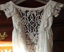 Antique Victorian Baby Lace Front Christening Gown Dress Doll Dress Vtg