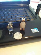 MINATURE PENGUINS LOT OF 2 ONE GLASS WITH GOLD ACCENT ONE CERAMIC