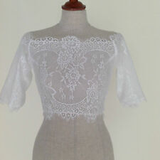 Wedding Bridal Off The Shoulder Lace Shrug Jacket 3/4 Sleeve Size 8/10
