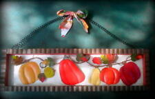 "Metal Wall Art-Red/Yellow Bell Peppers/Autumn Leaves/Corrugated Metal Frame 18""W"