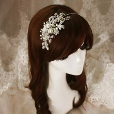 ELegant Bridal Wedding Hair Headband Crystal Pearls Flower  Bridesmaid Hairpiece