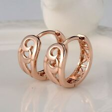 18k Rose Gold Filled Lady Earrings 15MM Charming Hoop Huggie GF Jewelry Gift
