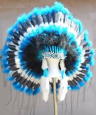 "Native American Navajo War Bonnet 36"" Headdress TURQUOISE TRAIL Blue & Black"