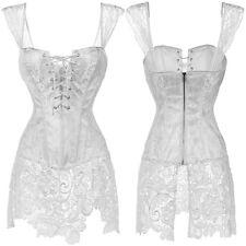 Women's Steampunk Corset Dress Waist Training Cincher Bustier Top & Skirt US #2