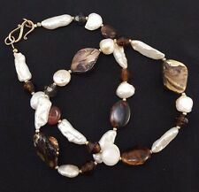 "White Pearl and Abalone Necklace - Natural Baroque Pearls  20"" J5"
