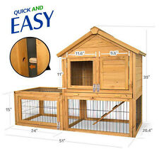 "51"" x 26.8 "" x 38.2"" Backyard Wood Rabbit Hutch Chicken Coop Pet House Habitat"