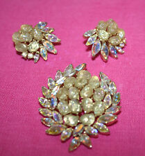 Crown Trifari brooch/pin & earring set~1961 Etoile~pools of light~BOOK PIECES