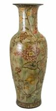 "Oversized Porcelain Floor Vase French Country Green Red Roses Floral 36"" Tall"