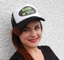 House of Wax Black &White Mesh Snapback Trucker Cap Pomade Hot Rod Biker Custom