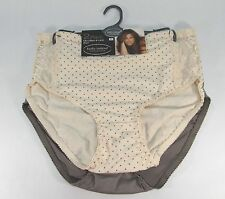 KATHY IRELAND-2-PACK-BRIEFS/PANTIES-CREAM/TAUPE-CHARCOAL/POLKA DOTS-LACE-2X NWT!