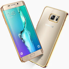 FUNDA PUNTERO SAMSUNG GALAXY S7 EDGE PLUS SILICONA GEL TRANSPARENTE BORDE DORADO