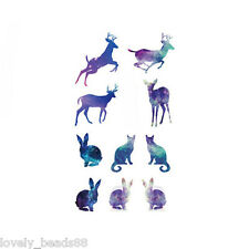 New Women's Pro Cute Deer Removable Nail Art Temporary Tattoo Sticker Decoration