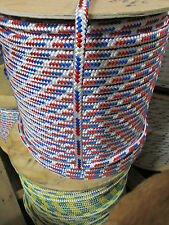 "1/2"" X 108' Anchor Line,Dock Line,Polyester Double braid ,USA ,Red/White/Blue"
