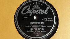 The Pied Pipers - 78rpm single 10-inch – Capitol #264 Remember Me