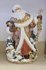 Fitz and Floyd Snowy Woods Santa Centerpiece Vase Figurine NIB