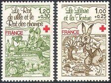 Francia 1978 Cruz Roja/médico/salud/bienestar/libros/Tortuga/liebre 2v Set (n29941)