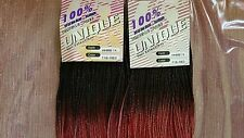"2 Packs Unique 100% Human Hair Micro Braids Weave 14"" 1B Black Red"