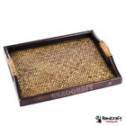 "11x14"" Food Serving Tray Large Square Wooden Bamboo Breakfast Fruit Oriental VTG"