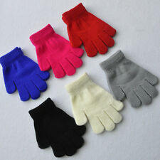 Childrens Girls Boys Kids Magic Gloves Stretchy Warm Pick Colour Knitted Winter