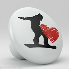 I love Snowboarding Ceramic Knobs Kitchen Drawer Cabinet Vanity Closet Pulls 697