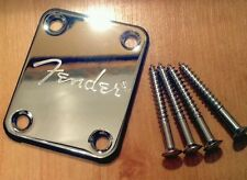 Chrome Neck Plate & Screws With Logo for Fender, Squier, Strat, Tele, Jag, Bass