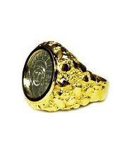 14K Yellow Gold Mens NUGGET COIN RING with 1/10 OZ PLATINUM AMERICAN EAGLE COIN