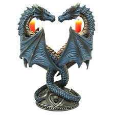 Altar Drake Double Blue Dragon Candle Holder Stand Sculptural Home Decor