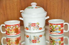 VTG SET OF CAMPBELL'S SOUP TUREEN OR SERVING BOWL W/LID LADDLE & 3 SOUP CUPS