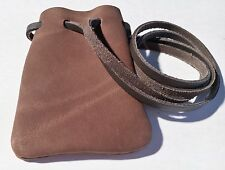 Leather Drawstring Medicine Pouch/Necklace--Medieval ReenactmentPouch-SM.Dark BR