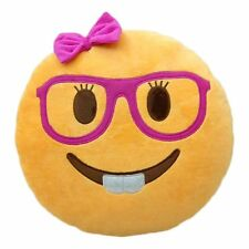 Lady Nerd Face Emoji Pillow Emoticon Cushion Plush Toy 32 CM USA SELLER!!!