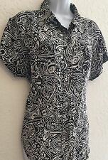 Chico's Black/White 100% Silk Short Sleeve Button Down Blouse Size M SALE