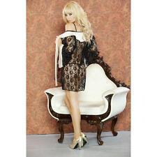 Fantasy Lingerie Lacey Kimono Robe, Underwire Bra, & G-String