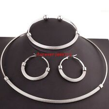 Jewelry Set Stainless Steel Silver Choker Collar Women Necklace&Bracelet&Earring