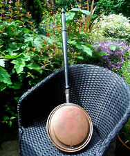 GEORGIAN COPPER WARMING PAN-WRIGGLE ROSE DECORATION-TURNED HANDLE c1800