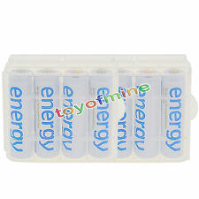 8x AA 3300mAh Ni-Mh Energy Rechargeable Battery White Cell for MP3 RC +2x Case