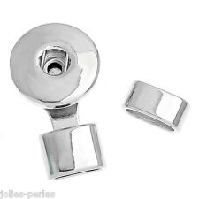 JP 5PCs Bracelet Tip Cap Snap Button Bracelet Silver Tone DIY3.2x1.9cm 13x6mm