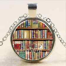Diy Vintage books Cabochon Tibetan silver Glass Chain Pendant Necklace